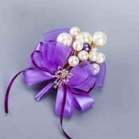 Moda DIY Groom mężczyźni Luksusy Stanik Nadgarstka Purpurowy Rhinestone Rose Kwiaty Boutonniere pin broszka Wedding party decoration AQ12