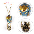 2014 New Fashion Fire Balloon Pendant Vintage Bear Necklace Personalized Women Jewelry Wholesale Accessories N0159