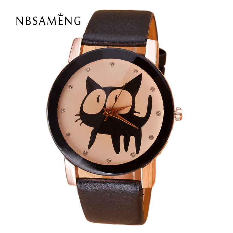 Hot Sale 2017 Fashion Cute Cat Dial Watch Women PU Leather Analog Quartz Wristwatches Women Crystal Clock Ladies Watches LZ2036 luobos hot sale square style women watch fashion casual leather quartz wristwatch small dial ladies analog watches relojes 2017