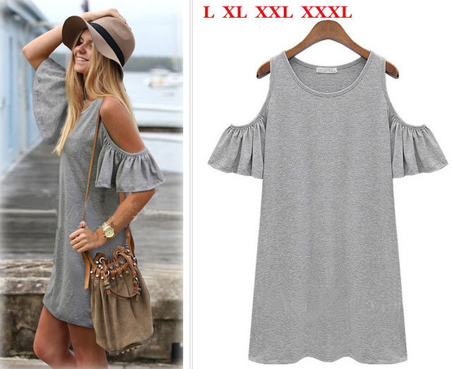Summer dress 2014 woman clothes butterfly sleeve cotton cute strapless dress  plus size XXXL women dress t shirt novelty dress