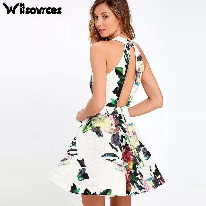 Witsources Skater dress Women New fashion sexy hollow out satin floral print A line night dresses SD3282