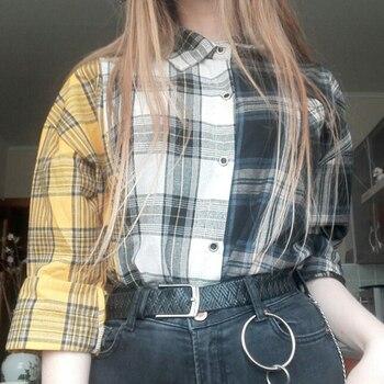 ALLKPOPER KPOP  Plaid Shirt Women Bangtan Boys SUGA Blouse Korea Fashion Plus Size Casual Spring Autumn Splice Shirts 6