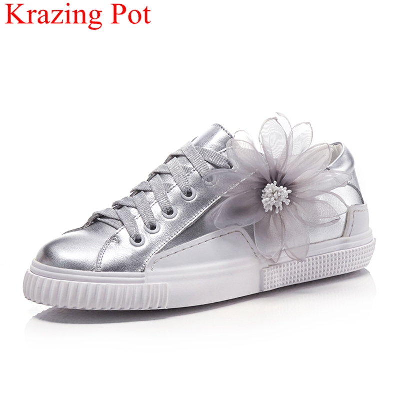 Krazing pot 2018 superstar cow leather sneakers for women flower lace up platform flats casual luxury