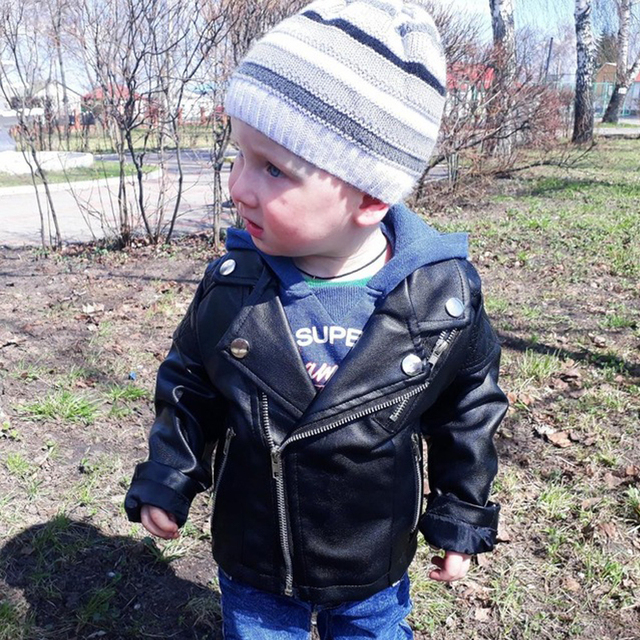 21f4401566c6 Boys PU jacket 1 7 years old children s Motorcycle leather fashion ...