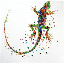 Free Shipping Hand-painted Wall Artwork Canvas Painting Knife Palette Colorful Animal Gecko Oil Picture Decorative Hang Crafts