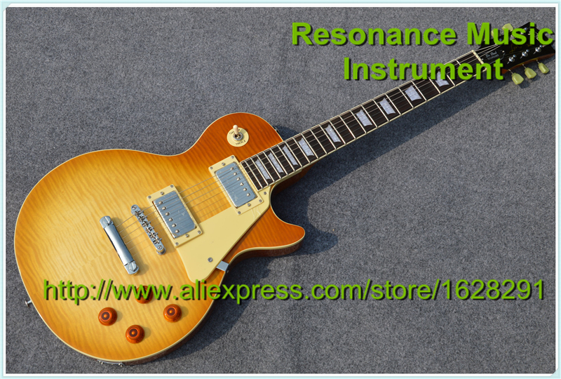 Custom Shop Vintage Sunburst Flame Maple Finish LP Standard Electric Guitar Chinese Kits Available custom shop music man john petrucci electric guitar in sliver sparkle finish