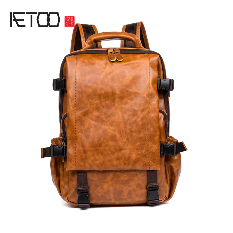 AETOO Retro leather shoulder bag men and women first layer leather backpack oil wax leather hand travel bag aetoo retro shoulder bag genuine handmade men women casual travel backpack large capacity first layer leather