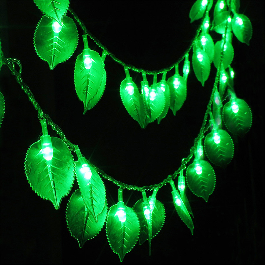 SVELTA 10M 80/100Leds Green Leaf AC Battery Powered String Lights Gerlyanda Decorative LED Christmas Lights Garland Garden Decor ...