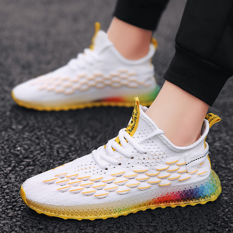 Image 4 - Casual Fashion 4D print Men's dad Sneakers Flying Weaving Mesh Breathable Men Shoes Outdoor tenis Footwear Zapatillas Hombre-in Men's Casual Shoes from Shoes