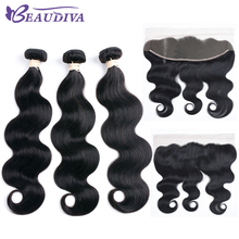 BEAUDIVA Pre-Colored Human Hair Weave Bundles With Closure 1# Jet Black Body Wave 13*4 Lace Frontal