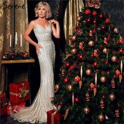 2019 Robe De Soirée Noite Diamante Vestido de Festa Nude Cinza Sliver Partido Ocasião Formal Vestido de Noite Longo Plus Size LA6002