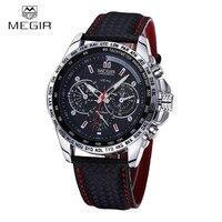 MEGIR Famous Brand Mens Watches Top Brand Luxury Business Quartz Watch Clock Leather Strap Male Wristwatch