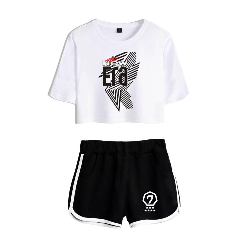 Fashion GOT7 Tshirt New Suit Shorts pretty girl Two-piece set Crop Got7 2019 Women Suit Tops+Shorts Pants New XS-2XL