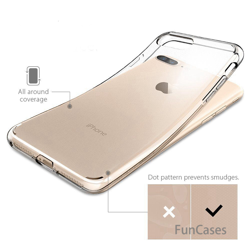 Ultra Thin Soft TPU Transparent Case For iPhone 5 5S SE 6 6S Plus 7 Plus 8 8Plus X Clear Silicon Back Cover Phone cases shell