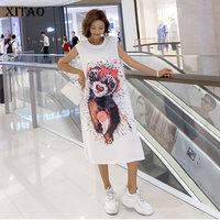 XITAO Cartoon Hollow Bow White Mini Dress Summer Clothes for Women Sleeveless Sequin Dress 2019 New Casual Pullover WBB4353