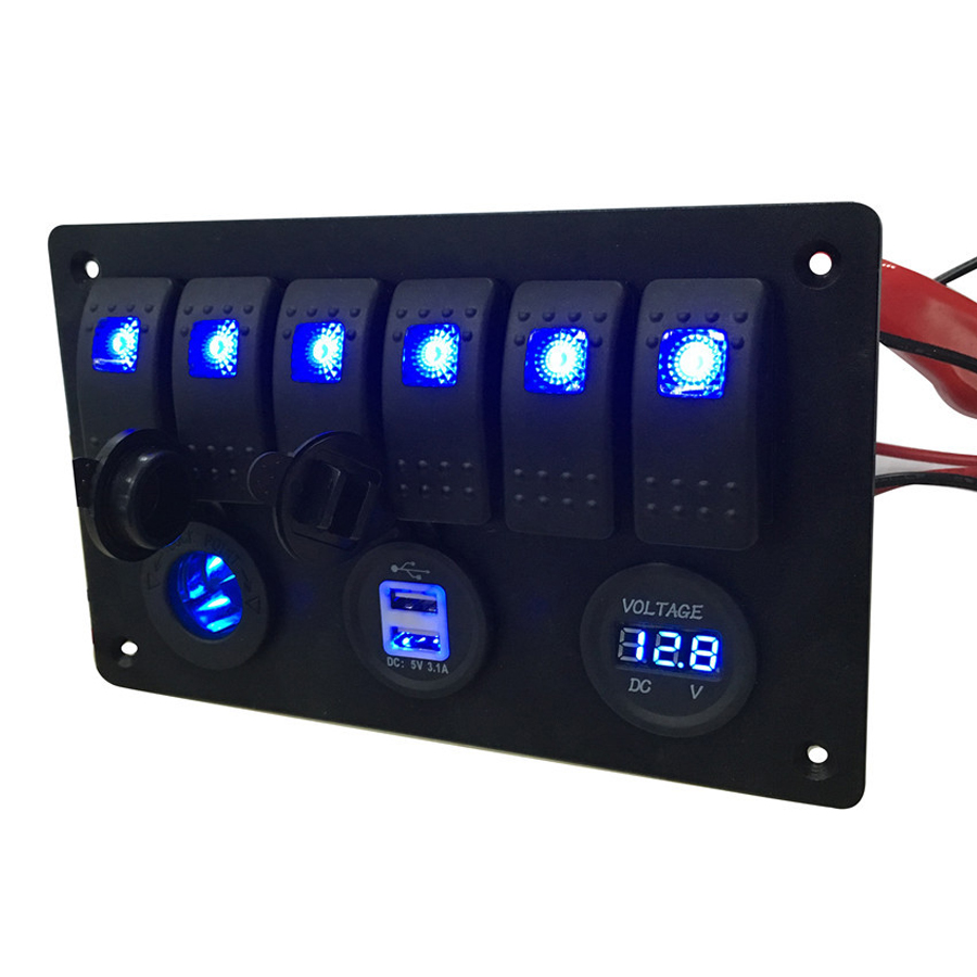 24V 12V Red Blue LED Boat Switch Panel Switches Waterproof Car Cigarette Lighter Socket RV Yacht Marine Boating Accessories heavy duty 60v 600a marine dual battery selector switch for boat rv semi motor yacht boats red abd black page 6