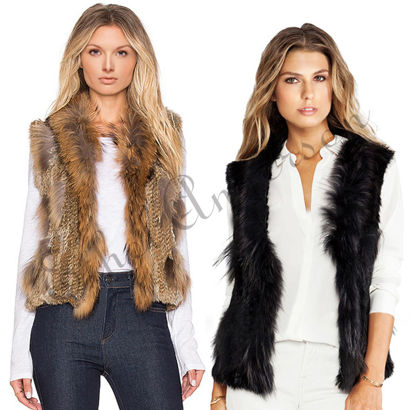 ETHEL ANDERSON Women's Genuine Handmade Knitted Rabbit Fur Vest Fur Collar Gilet Waistcoat for Spring Grass Grey Black Yellow