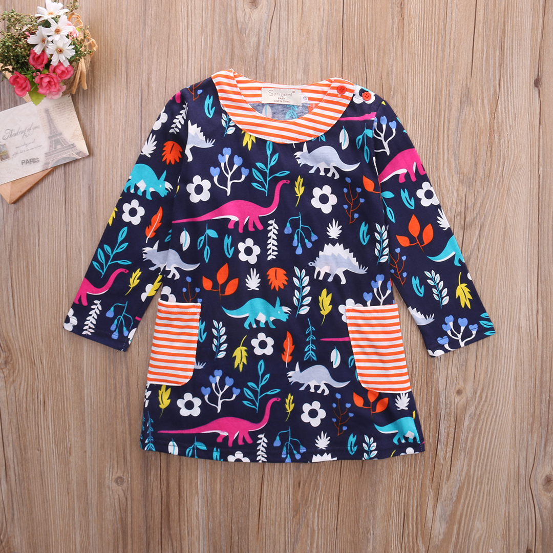 retro 2016 new kid girl dresses clothing bird little toddler baby girls dress long sleeve girl. Black Bedroom Furniture Sets. Home Design Ideas