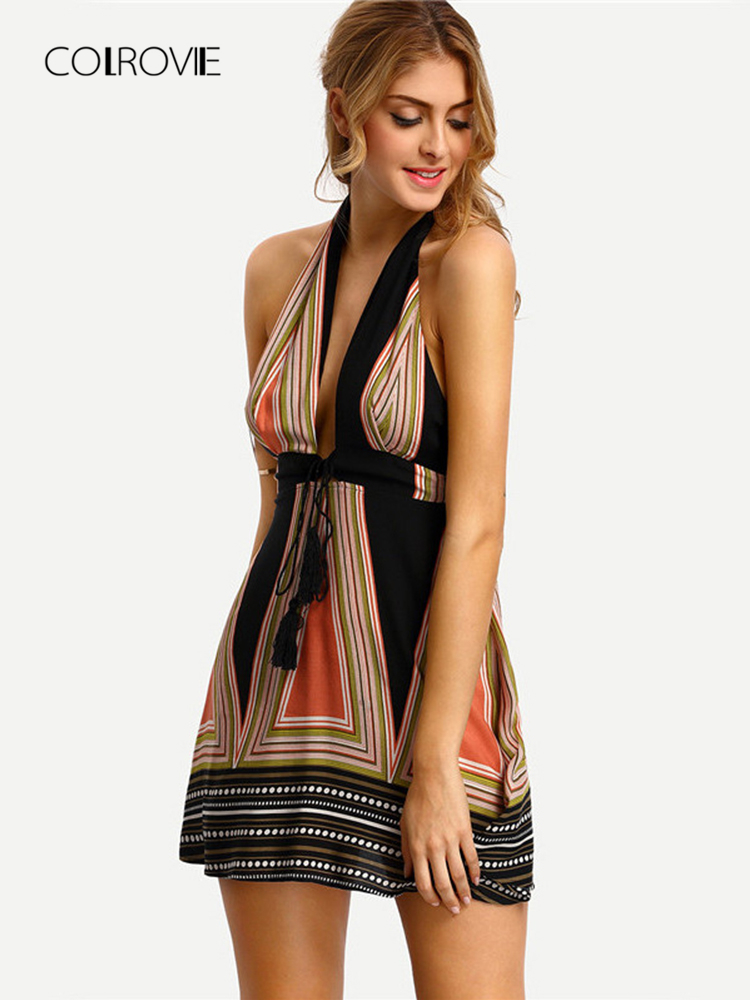 92928ec3c71 ... COLROVIE Vintage Backless Halter Women Dresses Summer Sexy Ladies  Multicolor Plunge V-neck Tassel Tie ...