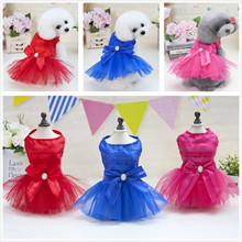 Horizontal Strips 3 colors Dog Puppy Wedding Party Lace Skirt Clothes Bowknot Tutu Princess Dresses Pet Apparel