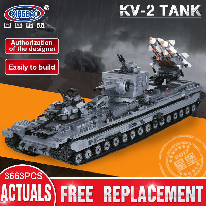 XingBao 06006 3663Pcs Creative MOC Military Series The KV-2 Tank Set children Educational Building Blocks Bricks Toys Model Gif xingbao 01001 creative chinese style the chinese silk and satin store 2787pcs set educational building blocks bricks toys model