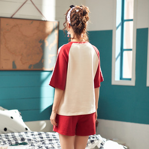 Image 3 - Moda Renk Bloğu Kadın Pamuk Pijama Seti Kore Gevşek 2019 Yaz Karikatür Elastik Bel Pijama Salonu pijama S93213