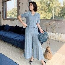 19 Năm Mùa Hè Mới Nhà Nữ Quần Áo Rời Kích Thước Lớn Phù Hợp Với Bộ Đồ Ngủ Ngắn Quần Dài 2 Bộ Pyjama femme Pijama Mujer
