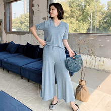 19 Years Summer New Ladies Home Clothes Loose Large Size Suit Pajamas Short sleeved Trousers Two piece Pyjama Femme Pijama Mujer