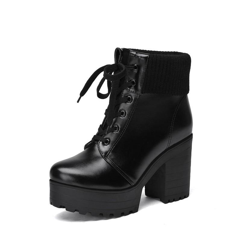 En black Chaude Dentelle forme La Beau Épais Talons Corée White De Chaussures Plate Bottes Vente Pu Cuir Mujer Zapatos Mode Cheville Hiver brown Chaud Jusqu'à Femmes beige 0v8nmNw