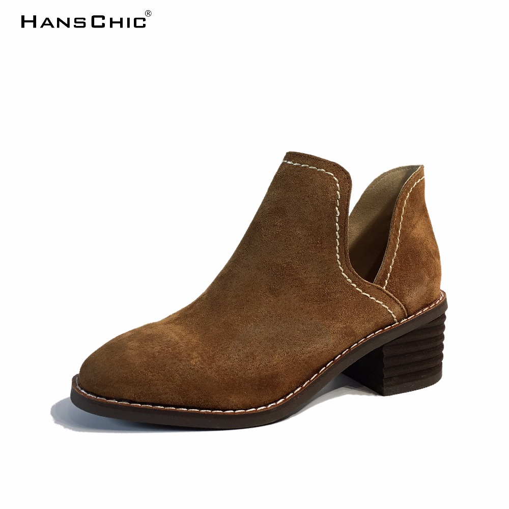 HANSCHIC 2017 New Arrival Brown Retro Vintage Style Designer's Ladies Womens Casual Boots for Female 2089