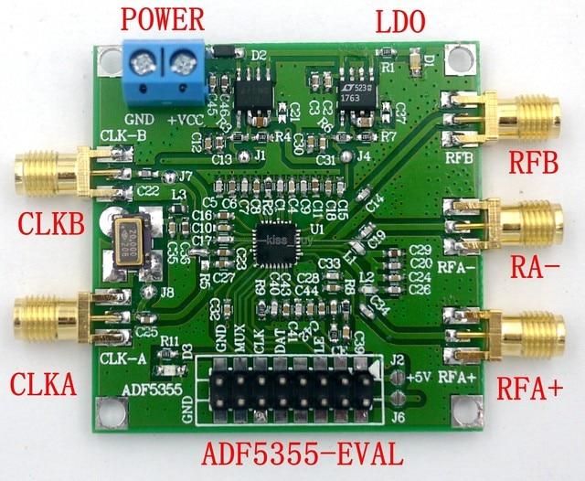 ADF5355 54 MHz 6000MHz Host computadora fase loop RF Placa de fuente