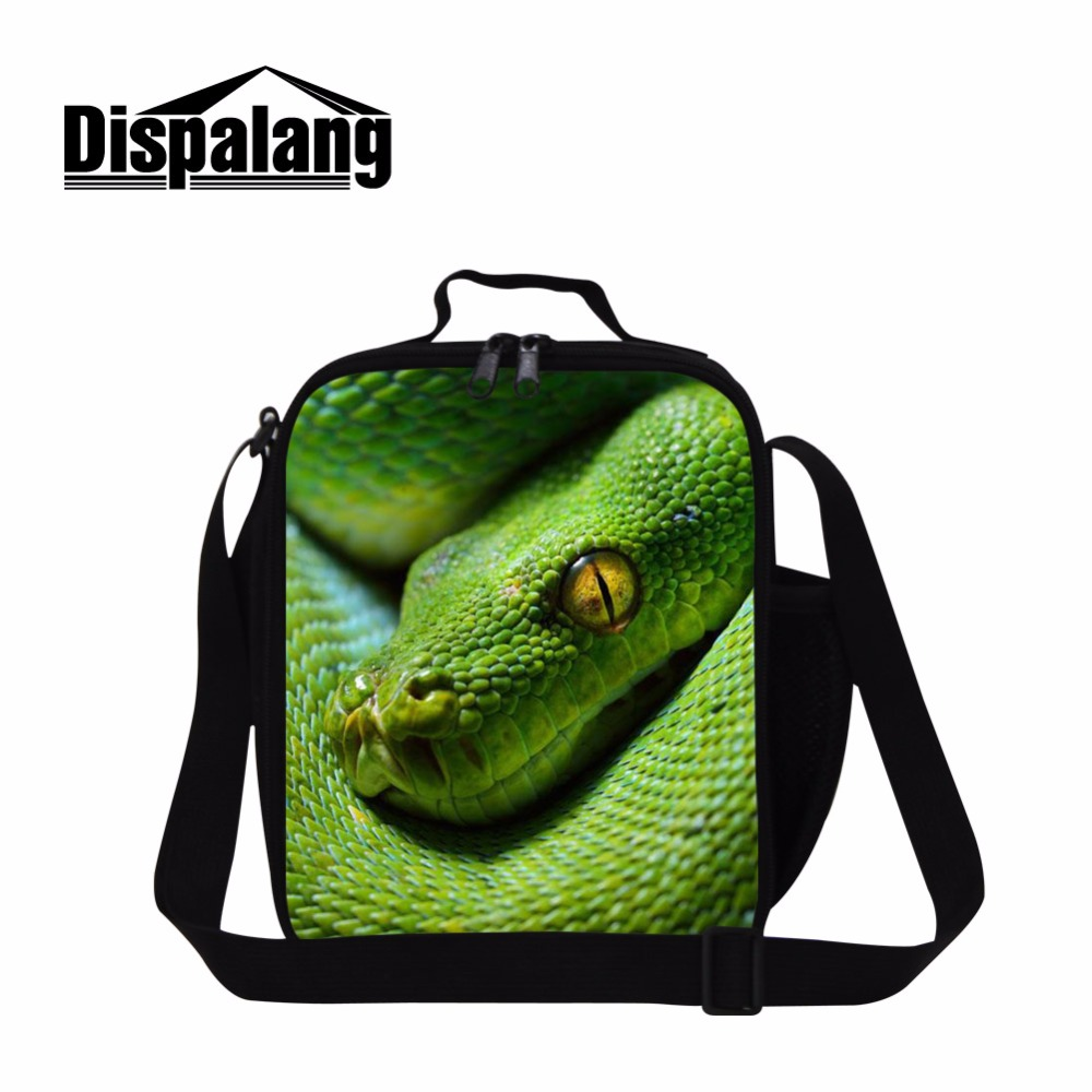 Dispalang Snake Print Lunch Cooler Bag for Children Cool Insulated Lunch Bag Small School Lunch Continaer for Kids Boys Meal Bag