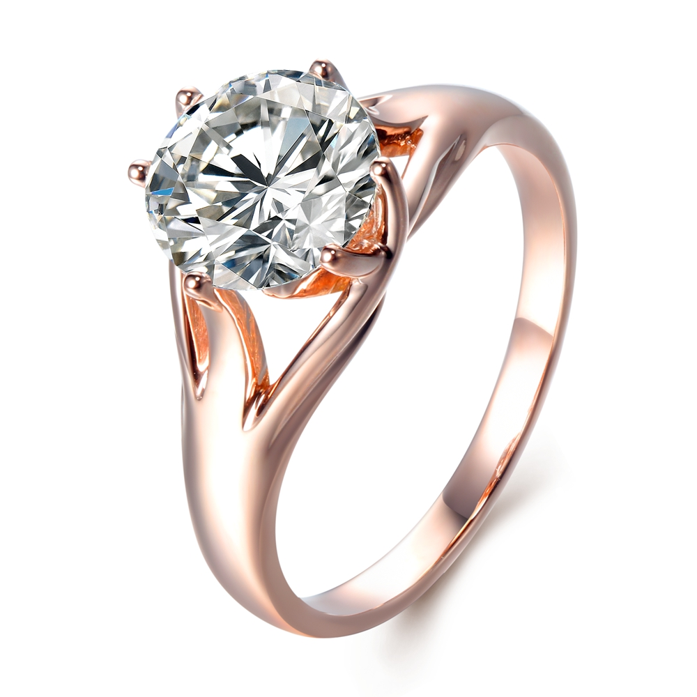 Stunning 5Ct Carat Moissanite Ring 14K Rose Gold Setting DEF Color VVS1 Moissanite Engagement Ring Romantic Fine Jewelry