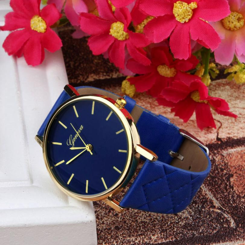 Checkers Faux Women Quartz Watch Blue Dial