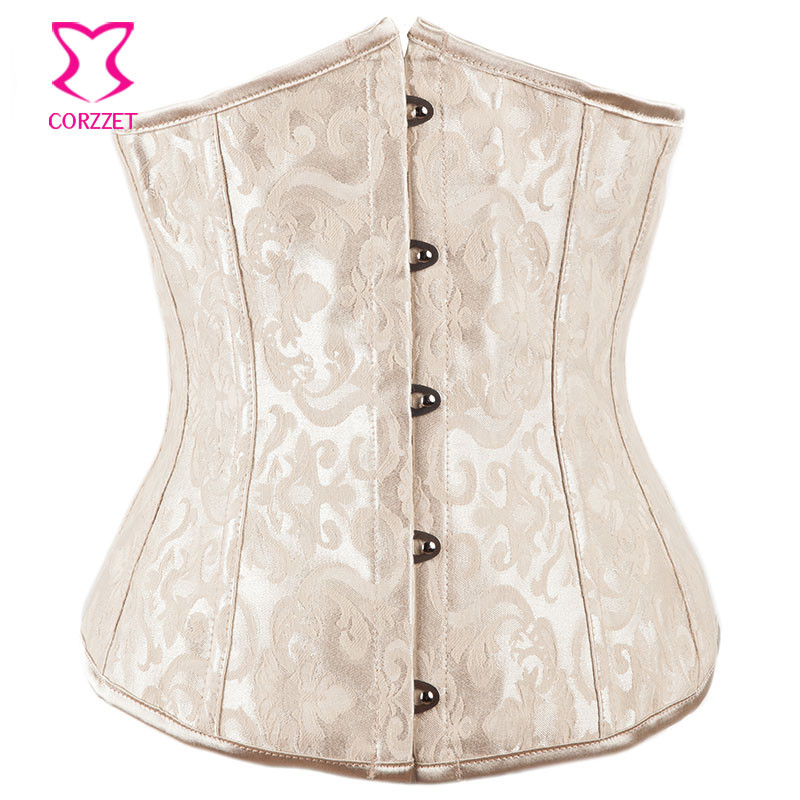 Beige Dobby Gothic Clothing Corpetes E Corselet Plus Size   Corsets   And   Bustiers   Sexy   Corset   Underbust Korse Women Waist Trainer