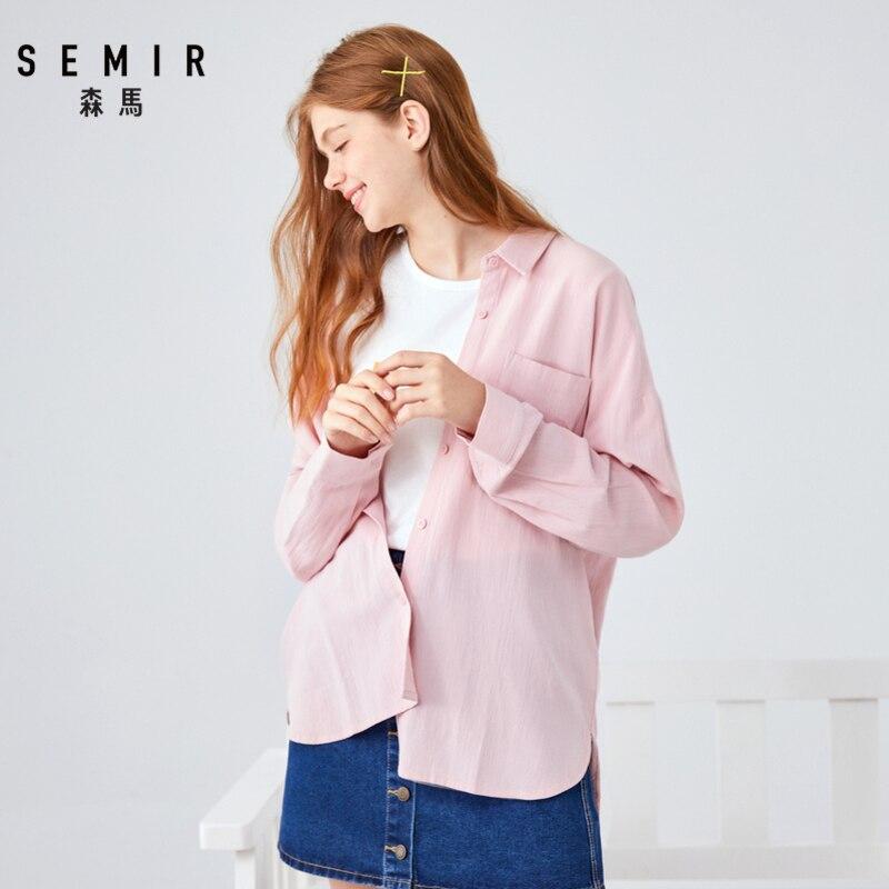 Женская рубашка с длинным рукавом SEMIR, однотонная блузка из хлопка, для весны и осени, 2019