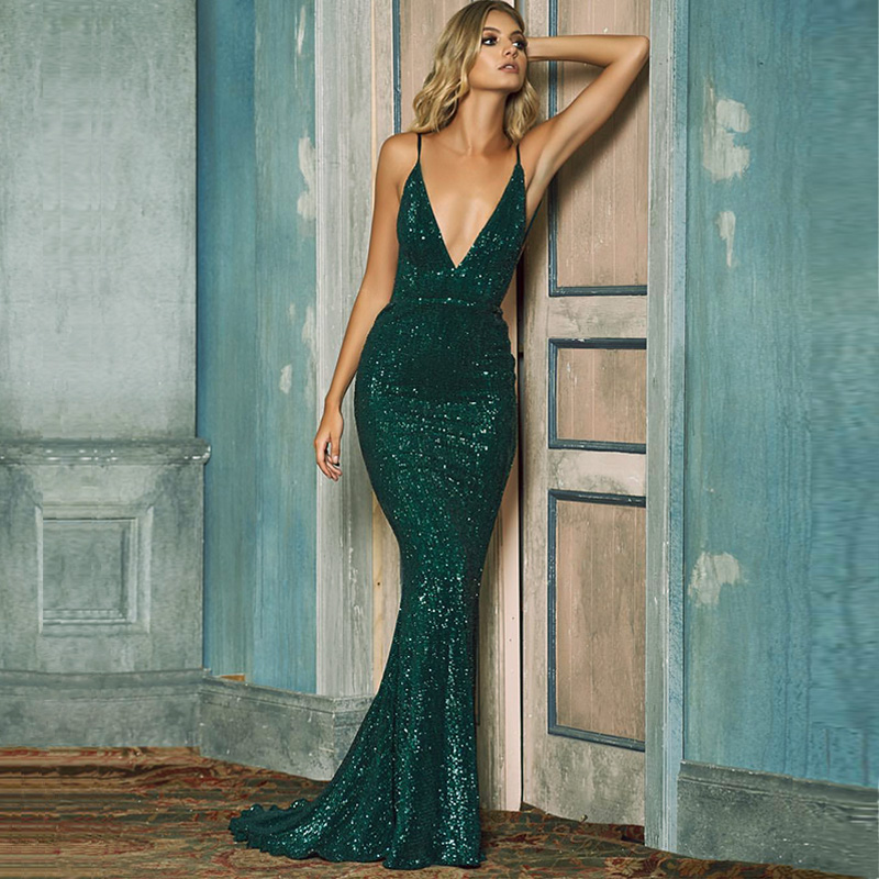 2018 NEW Summer Deep V Neck Padded Sequin Maxi Dress Floor Length Bodycon Stretch Backless Green Dress Long Lining Club Dress