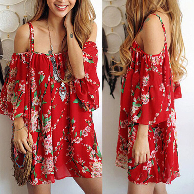 2018 Summer Women Fashion Hot Sexy Flower Print Beach Mini Dress Big Size Festival Clothing Red pregnant women high quality