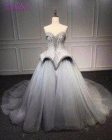 Fmogl Nova Moda Strapless Lace Up vestido de Baile Vestidos de Princesa do baile de Finalistas 2018 Lace Frisada Formal Do Partido Vestido Robe De Soirée Plus Size