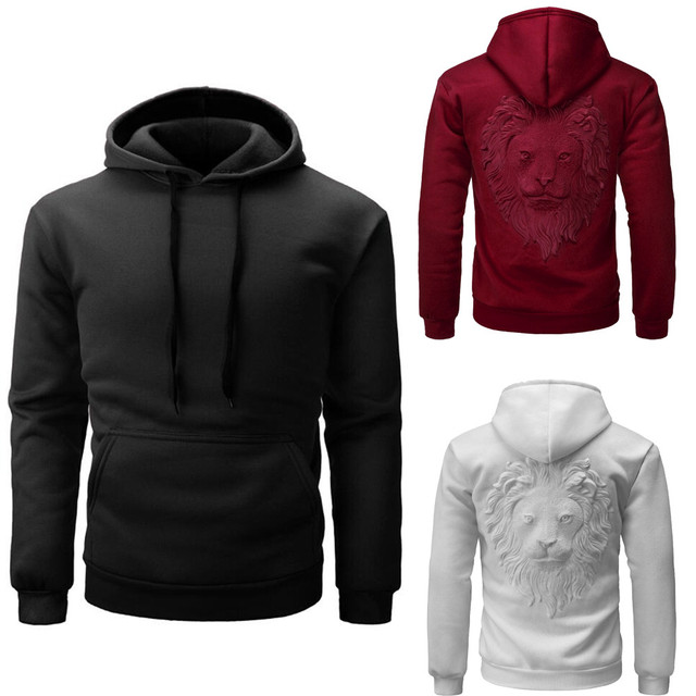 Men winter lion hooded Sweatshirt 2017 NEW male boy hoodies autumn fashion  lion totem print sweat a capuche homme Sweatshirt HOT 45f0fe82ec6