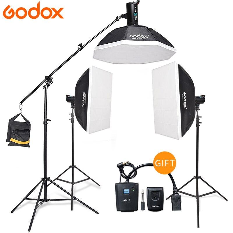 Godox 3*DE400 Strobe <font><b>Lights</b></font> Set Kits with RT-16 trigger + 3*Softbox with <font><b>Light</b></font> Stand for Professional Photography Studio
