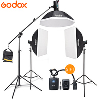 Godox 3*DE400 Strobe Lights Set Kits with RT 16 trigger + 3*Softbox with Light Stand for Professional Photography Studio