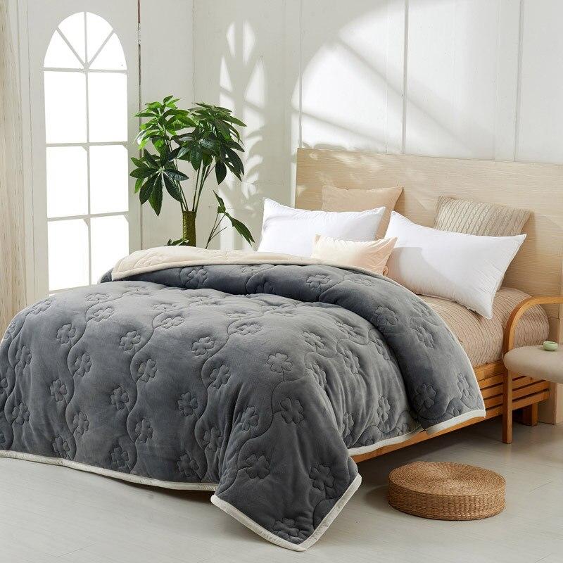 Yovepii утепленные Одеяло Зимние флисовые покрывало 3 слоя фланелевый Утешитель 3.5cm толстые покрывало теплые постельные принадлежности 1 шт. лоскутное одеяло - 2