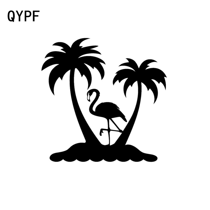 QYPF 16.7CM*17CM Vivid Flamingo Beach Palm Trees Vinyl Car Window Sticker Decal Black/Silver C15-0972