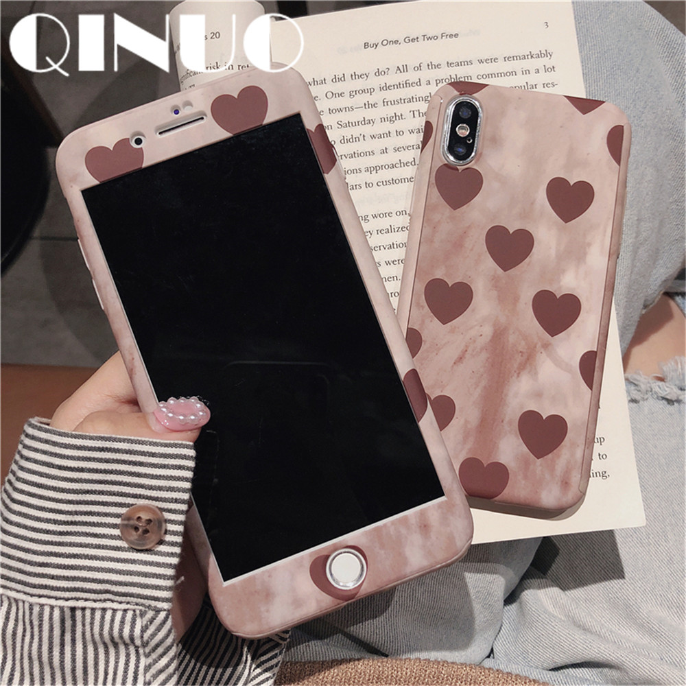 QINUO Loveheart Case For iPhone 7 8 Plus 6s Plus X XS Max XR Cover 360 degree Full protective Tempered Glass Telefon Kilifi Caso