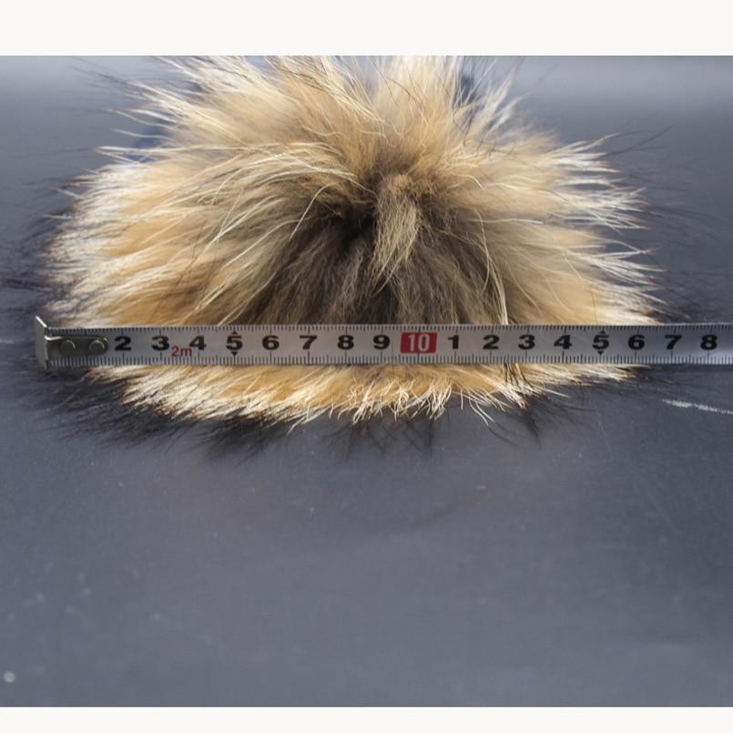 Bebek Kış Şapka Gerçek Kürk Ponpon Çocuk Beanie Çocuk Büküm - Elbise aksesuarları - Fotoğraf 6