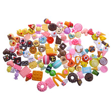 100 PCS/Lot (mélange aléatoire 100 pas répéter) 1/12 Mini Alimentaire Gâteaux Beignets Bonbons Biscuit Pour American girl poupée