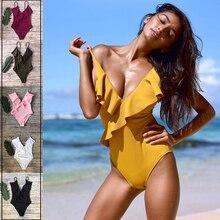 2019 Sexy Ruffle One-piece Swimsuit Solid Falbala V neck Monokini Ladies Beach Bathing Suit Swimwear Bikinis