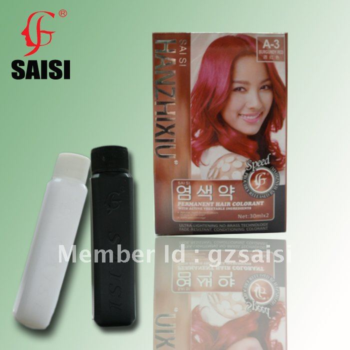 Burgundy Red 30mlx2 Permanet Hair Colorant With Vegetable