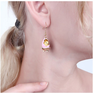 Image 2 - New Arrivals European Style Fashion Broken Shell Chick Enamel Gold Plated Luxury Earring For Women Party Jewelry